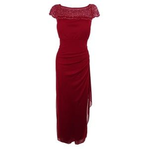 MSK Red Embellished Side Ruffle Formal Gown